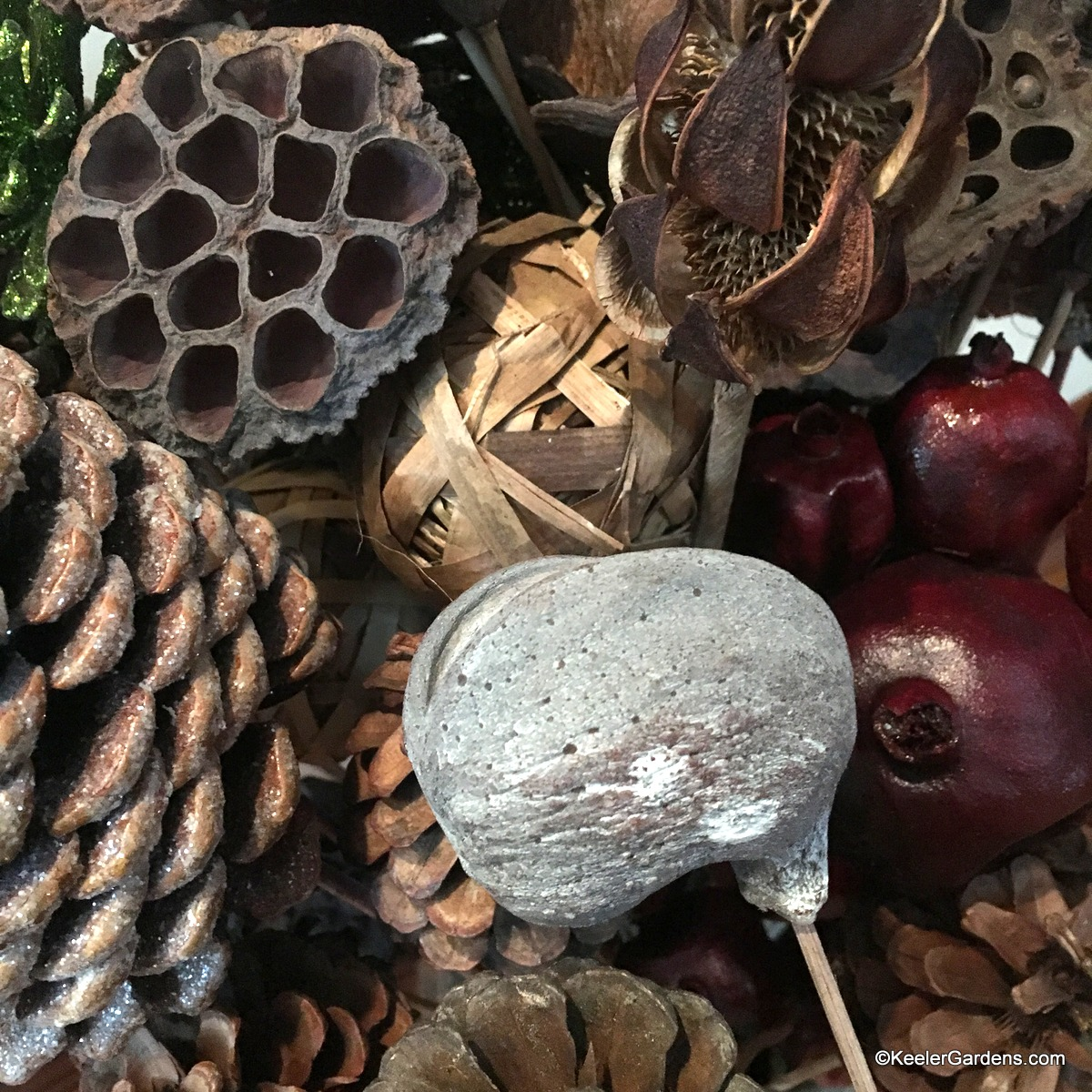 A multitude of accents are presented for a natural display including dried lotus flower seed pods, pine cones, and faux pomegranate.